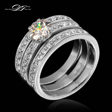 Hot Sale Bridal Cubic Zirconia Wedding Rings Set Wholesale CZ Stone Crystal Fashion Retro Jewelry For Women anel aneis DFR060