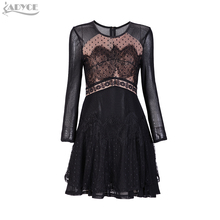 2017 New Winter Dress Women Evening Party Dresses Black Mesh Long sleeve nude Lining O-neck celebrity A-line Black Lace Dress
