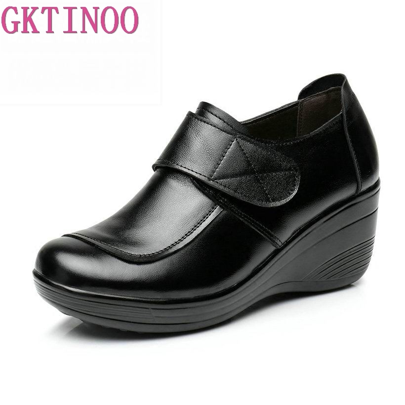 GKTINOO 2020 Wedges Women Shoe Spring Autumn Slip-On High Heels Round Toe Genuine Leather Casual Ladies Platform Shoes Woman
