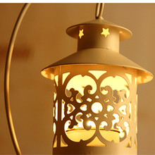 Metal Moroccan Candleholder Candle Stand Light Holder Candlestick Hanging Lantern Home Centerpieces with Base Wedding Decor