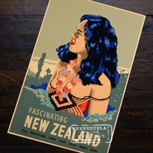 Fascinating Girl New Zealand NZ Visit Landscape Travel Retro Vintage Poster Decorative DIY Wall Art Home Bar Posters Decor