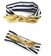 1 PC European Girl Black White Striped God Bow DIY Cotton Headband Knot Hairband Elastic Hair bands Bandeau Hair Accessories
