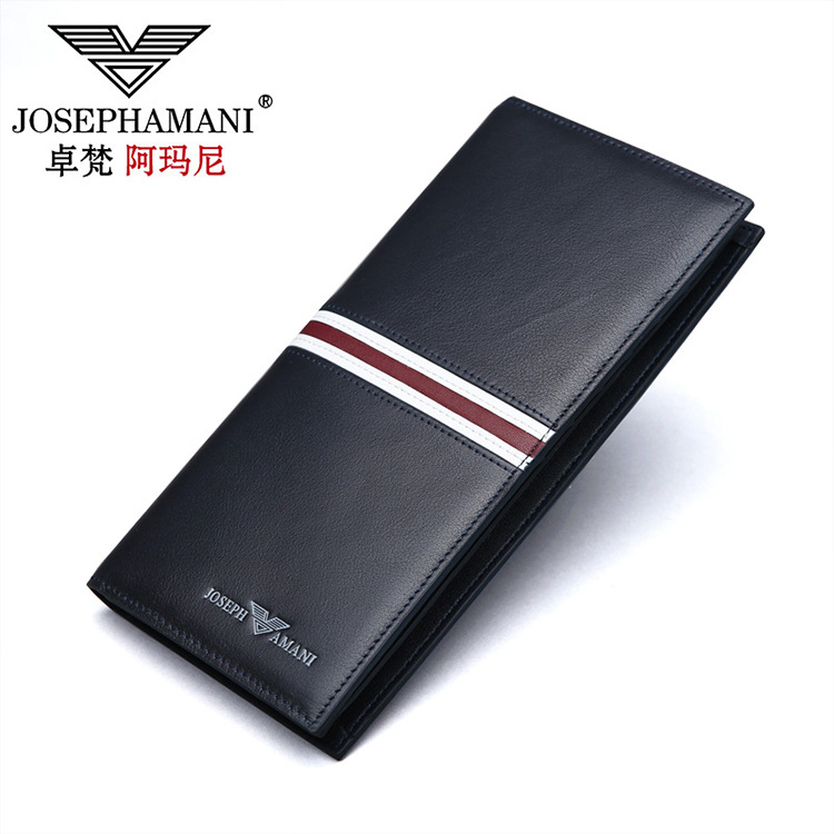 Fashion boyfriend gift short wallet black blue mens long cow leather wallet men business card holder purse clutch fold soft bag<br>