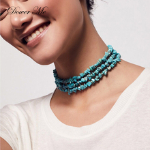 Dower Me Choker Necklace Geometric Irregular Blue Turquoises Stone Statement Necklace Multilayer Fashion Collier Femme Necklaces