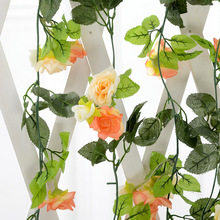 Fake Silk Roses Ivy Vine Artificial Flowers with Green Leaves for Wedding Decoration Hanging Garland Decor Plastic Flower Vine(China)
