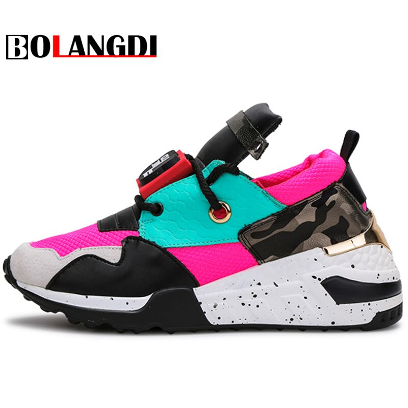 Bolangdi Genuine Leather Patchwork Womens Outdoor Sport Running Shoes Lace Up Breathable Sneakers Damping Anti Collision Shoes<br>
