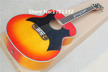 Hot sale Factory CUSTOM 43'' 20 frets cherry sunburst Cat King acoustic guitar with big black pickguard,signature on fingerboard