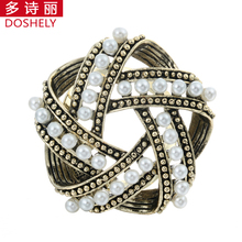 Vintage Men Women Jewelry Gold-color Brooch Imitation pearl Five pointed star Bird's nest Lapel Hijab pins Scarves buckle clips