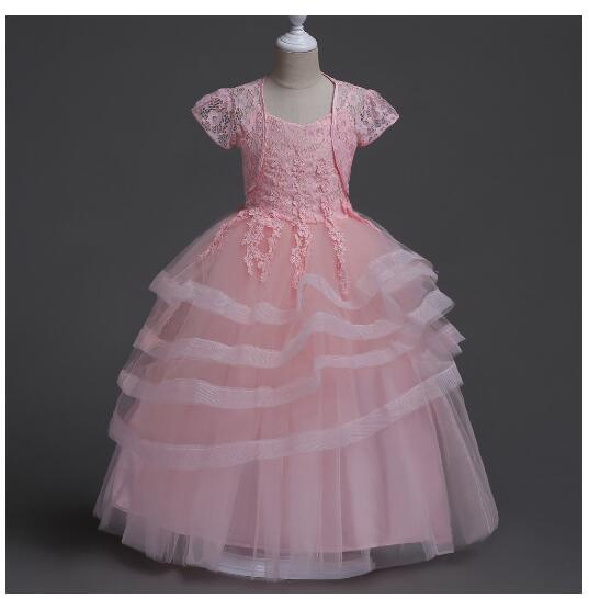 Girls Formal Dress 2017 Sleeveless Long Lace Pleated Slim Princess Dresses Gauze Kids Party Gown Childrens Wedding Dress 5-16T<br>