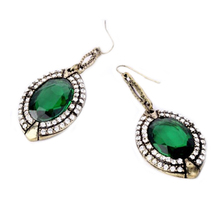 2015 hot sell Women's Fashion Jewelry Elegant Crystal Big Green Resin Rhinestone Dangle Earrings 56PB(China)