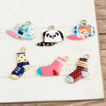 12pcs/Lot Socks & Cap Metal Charms, Hat Charms for Keychain, Mobile Phone Pendants, DIY Jewelry Accessories