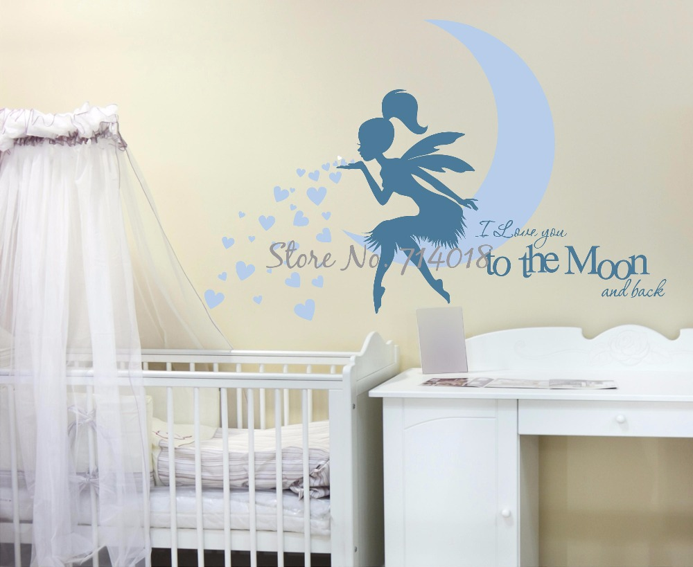HTB1K5zsRVXXXXbHXFXXq6xXFXXXD - Newest Fairy Wall Decal with Blowing Heart Kisses I Love you to the Moon and Back