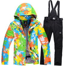 Winter Jacket Men Ski Suit Waterproof Breathable Camo Jacket Skiing Snowboard Pants Thick Warm Outdoor Ski Sportswear Set MS1619