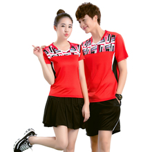 Adsmoney Brand Men/Women Badminton Stes camisa masculina Short Sleeve V-Neck Quick Dry Clothes Suits Shirt badminton Male/Female
