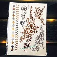 1 Piece Hot Henna Tattoo Stickers Large Flower Pattern PCT-129 Gold Metallic Temporary Tattoo Leaf Silver Arrows Tattoos Women