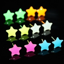 Sale 6 Pairs Random Color Women Romantic Light In the Dark Star Heart Round Stud Earrings Jewelry