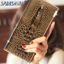 Alligator Genuine Leather Women Wallet Crocodile Head Cow Leather Wallet Fashion Women Purse 3D Long designer Money Clip