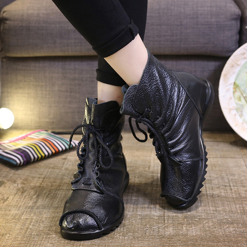 2017 Autumn and Winter New Women Ankle Boots Genuine Leather Martin Boots Platform Flats with Casual Shoes Woman sapatos mulher<br><br>Aliexpress