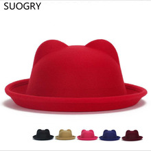 2015 New Arrival Women Winter Autumn Unique Cute Wool Felt Cat Ears Hat Cap Christmas Fodoras Bucket Caps For Girls Hats(China)