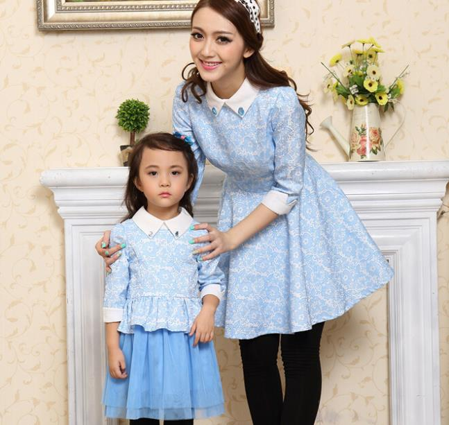 Family Clothes Spring/Autumn Dress Mesh Bottom Girls Dress Fashion Women Dress Long Sleeve Dress for Mother and Daughter, CHH60<br><br>Aliexpress