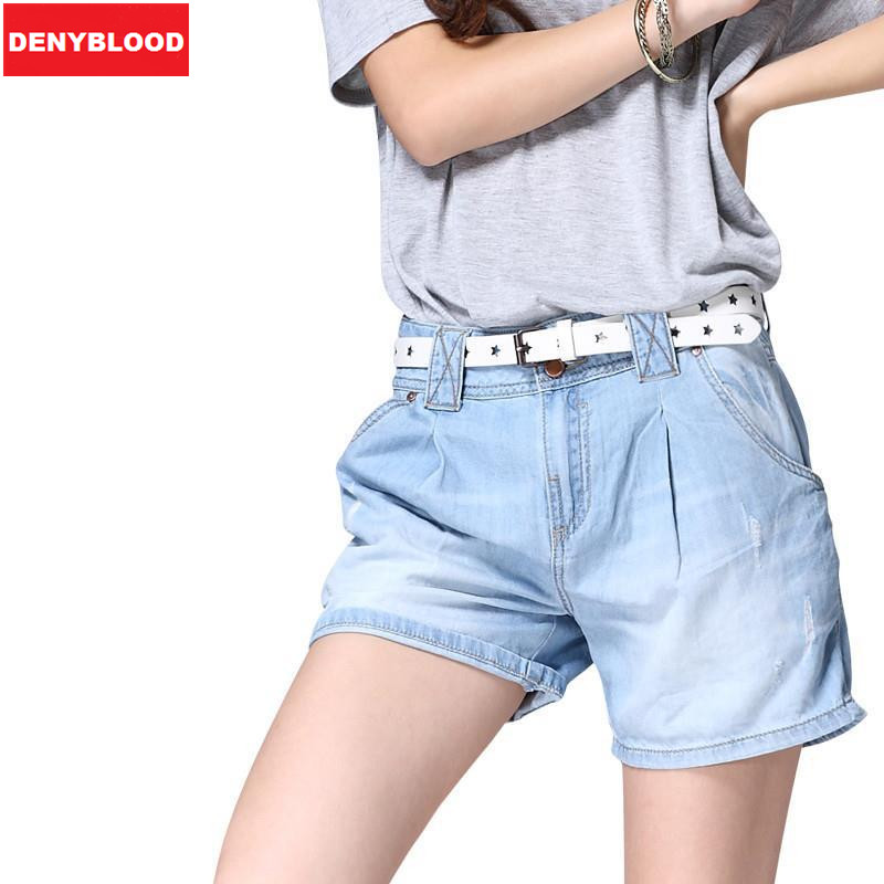 2017 New arrival woman jean shorts Simple Classic Style Front Style Pleated Shorts Jeans Straight fit denim shorts Size25-34R858Одежда и ак�е��уары<br><br><br>Aliexpress