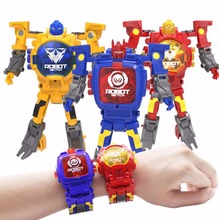 New Trasformation Wristwatch Toy Children Sports Cartoon Watches Kid Xmas Gift Cute Boys Robot Transformation Toys Distortion(China)