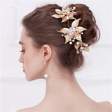 Gold Leaves Pearl Rhinestone Handmade Bridal headband Vintage Wedding Evening Party Tiara Headdress