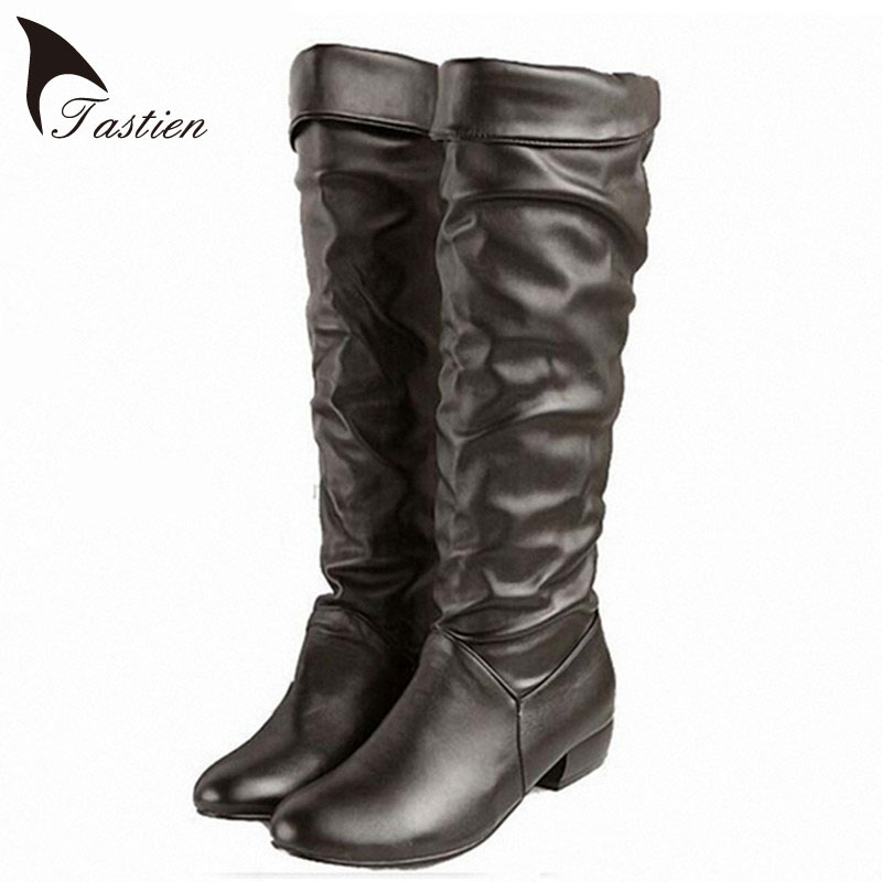 Large Size 2017 New Arrive Winter Knee high Women Boots Black White Brown Flat Heels Half Boots Autumn Winter Shoes Woman Shoes<br><br>Aliexpress