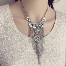 Europe Long Chain Gemstone Clavicle Necklaces & Pendants Sequined Tassels Carved Inlay Imitation Diamonds Retro Necklace N2047