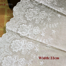 1yard/lot Width:22cm Fancy design cotton fabric lace Flowers embroidered lace trimmings Women clothing diy lace trim (ss-7279)
