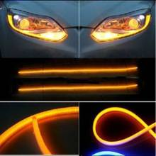 Car styling 2X45cm white + yellow   Red   blue   hose type front headlights with angel eyes DRL decorative lights