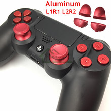Customs Metal Analog Sticks Aluminum Dpad Button+thumbstick cap+Bullet Buttons Replacement for Sony PS4 Controller Dualshock 4