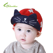 Baby Children Caps Baby Cotton Soft Cute Sun Hat Cartoon Cat Embroidery Baseball Caps Toddler Boys Girls Fashion Hat 2017(China)