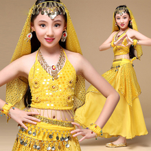 Indian Sari Children Indian Dance 5-piece Costume Set (Top, Belt, Skirt and Head Pieces) Kids Bollywood Dance Costumes for Girls