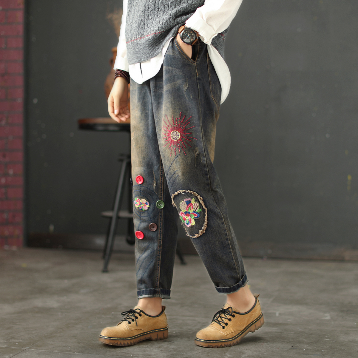 National Style Vintage Embroidery Flower Jeans Sen Female Wash Old Worn Elastic Waist Strap Patch Harem Pants