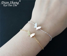 DIANSHANGKAITUOZHE 10pcs Gold Colour Stainless Steel Butterfly Bracelet Brazaletes Pulseras Mujer Hand Accessories For Women