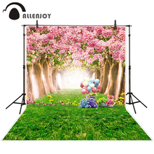 Allenjoy photographic background Teddy bear grass flower tree backdrops boy kids props digital 8 x 8 ft