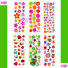 6 Sheets Colorful Cute Flowers Bean Garden Scrapbooking Kawaii Emoji Reward Kids Toys Bubble Puffy Stickers Factory Direct Sales