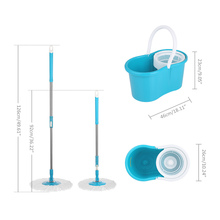 iKayaa US FR Stock Spin Mop 360 Rolling Magic Spin Mop&Bucket Set Rotating Easy-Wring Floor Mop with 2 Microfiber Mop Heads(China)
