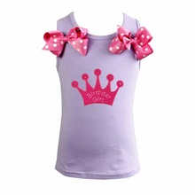 Girl Pettitop Hot Pink Birthday Girl Crown , Hot Pink Bling Heart , Cupacke Lavender Tank Top1-10Y