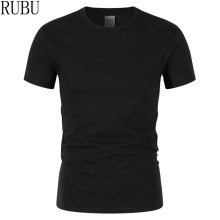 RUBU 2017 summer New High quality men T shirt casual short sleeve o-neck 100% cotton t-shirt men brand white black tee shirt(China)