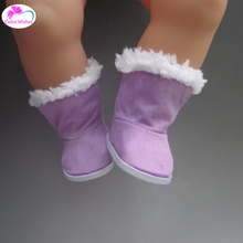 6.5cm Purple Thickened boots Shoes for dolls fit 43 cm BABY born Zapf \American girl for child birthday gift(China)