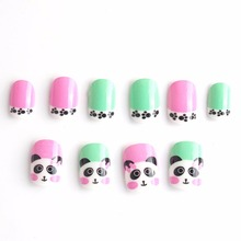 Hot Panda Kid Fake Nails Press on 20 Pcs Green Pink Color Pre-glue False Nail Tips for Little Girls Kits patch for Finger
