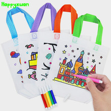 Happyxuan 5pcs/lot Non-woven DIY Painted Blank White handbag Giraffe Tree Boat Child Graffiti Art Material Gift Bag Drawing Toy(China)
