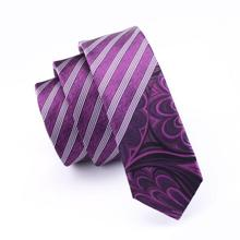 2017 Fashion Slim Tie purple And white Diagonal stripes Skinny Narrow Gravata Silk Ties For Men Wedding Party Groom HH-215(China)
