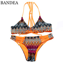 BANDEA 2016 New Arrival Bikini Brazilian Women High Neck Swimwear Floral Print Sexy Cup Padded Swimsuit Bikinis Set