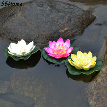 1PC Floating Artificial Lotus Ornament for Aquarium Fish Tank Pond Water lily Lotus Artificial Flowers Home Decoration