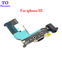 10pcs/lot High Quality For Iphone SE Charger Dock USB Charging Port Flex Cable With Headphone Jack  Free Shipping