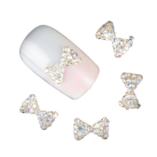 New 10 Pcs 3D Nail Art Stones Studs Stones Bow Crystal Rhinestone For Nails Alloy Decoration Nail Art Glitters DIY TN072