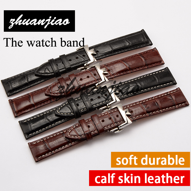 Real Italy leather is directly from the Italy,20mm black white line Genuine Leather Watchband with Original Buckle Watchstrap<br>